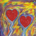 """Mainstream Illustration, Untitled-020 . """"Love in the Air"""" . Acrylic on canvas . 12 x12 in.. ..."""