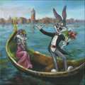 Mainstream Illustration, Untitled-119 . Bugs and girlfriend (Gondola serenade) . Oilon canvas . 12 x 12 in.. ...