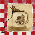 Mainstream Illustration, Untitled-078 . Tazmanian Devil coffee . Coffee on paper /Acrylic on canvas . 12 x 12 in.. ...