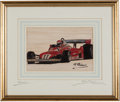 Transportation:Automobilia, Artist Proof Of Niki Lauda Ferrari 312 Formula Race Cars signed P.Psaier ...