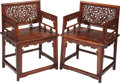 Asian:Chinese, A PAIR OF CHINESE HARDWOOD ARMCHAIRS, early 20th century. 34 x 24 x18-1/2 inches (86.4 x 61.0 x 47.0 cm). ... (Total: 2 Items)