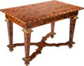 Furniture , A RÉGENCE-STYLE MAHOGANY AND MIXED WOOD MARQUETRY CENTER TABLE, 19th century. 30 x 46-1/2 x 26-3/4 inches (76.2 x 118.1 x 67...