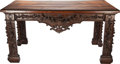 Furniture : English, AN ENGLISH CARVED OAK CONSOLE TABLE, 18th century. 36-1/2 x 69 x 34 inches (92.7 x 175.3 x 86.4 cm). ...