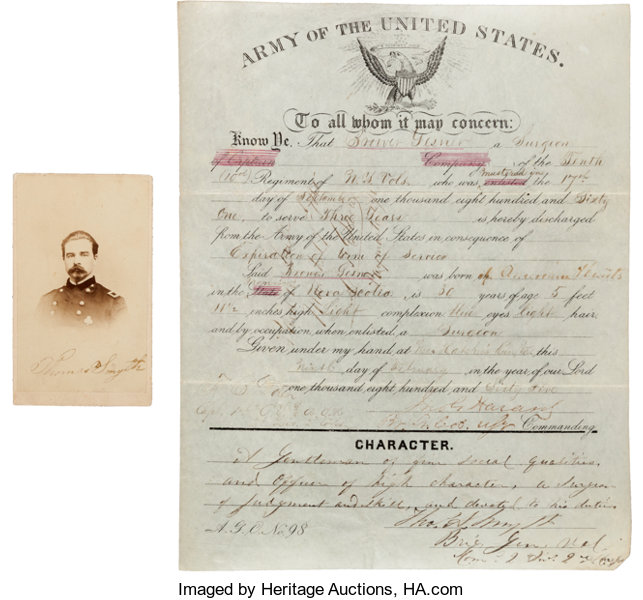 AutographsMilitary Figures General Thomas A Smyth Document Signed With Civil War