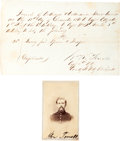 Autographs:Military Figures, General William R. Terrill Document Signed with Carte deVisite. ... (Total: 2 )