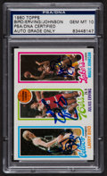 Basketball Cards:Singles (1980-Now), Signed 1980 Topps Bird/Erving/Johnson PSA/DNA Gem MT 10! Signed by All Three! ...