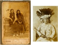 "American Indian Art:Photographs, Two Indian Photos: ""Chief Sitting Bull and Squaw"" and ""Gotebo,Kiowa War Chief"".... (Total: 2 Items)"
