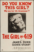 "Movie Posters:Crime, The Girl in 419 (Paramount, 1933). One Sheet (27"" X 41"") Style A.Crime.. ..."