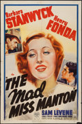 "Movie Posters:Comedy, The Mad Miss Manton (RKO, 1938). One Sheet (27"" X 41""). Comedy....."