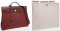 Luxury Accessories:Bags, Hermes Chocolate Calf Box Leather & Toile Herbag MM ShoulderBag. ...