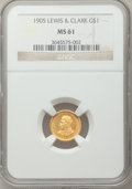 Commemorative Gold: , 1905 G$1 Lewis and Clark MS61 NGC. NGC Census: (92/1092). PCGSPopulation (83/1715). Mintage: 10,000. Numismedia Wsl. Price...