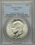 Eisenhower Dollars: , 1971-S $1 Silver MS67 PCGS. PCGS Population (438/2). NGC Census: (91/1). Mintage: 2,600,000. Numismedia Wsl. Price for prob...
