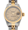Timepieces:Wristwatch, Lady's Rolex Oyster Perpetual DateJust Automatic Steel & 18k Gold Wristwatch, Circa 1990. ...