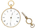 Timepieces:Pocket (pre 1900) , Swiss 18k Gold Key Wind Open Face Pocket Watch. ...