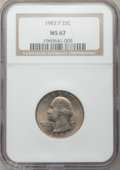 Washington Quarters: , 1983-P 25C MS67 NGC. NGC Census: (7/0). PCGS Population (6/0).Mintage: 673,534,976. . From The Brian Loncar Collection,...