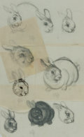 Books:Original Art, Garth Williams (1912-1996), illustrator. Group of Five Rough PencilSketches of Rabbits, Possibly for The Rabbits' Weddi...