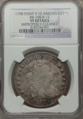 Early Dollars, 1798 $1 Large Eagle, Pointed 9, 10 Arrows, B-13, BB-108, R.3. --Improperly Cleaned -- NGC Details. VF....