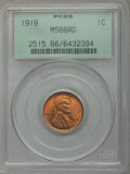Lincoln Cents: , 1919 1C MS66 Red PCGS. PCGS Population (240/80). NGC Census:(75/11). Mintage: 392,020,992. Numismedia Wsl. Price for probl...