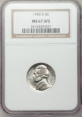 Jefferson Nickels, 1990-D 5C MS67 Six Full Steps NGC. NGC Census: (4/0). PCGS Population (1/0). . From The Brian Loncar Collection, Part II...