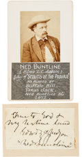 Autographs:Authors, Ned Buntline: Two Great Items for the Promoter of the Buffalo Bill Legend.... (Total: 2 Items)