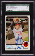 Baseball Cards:Autographs, Signed 1973 Topps Nolan Ryan #220 SGC Authentic. ...