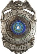 Militaria:Insignia, Texas Sheriff's Badge: A Scarce Original Badge from Tom Greene County....