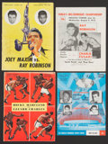 Boxing Collectibles:Memorabilia, 1950-62 Significant Boxing Fight Programs Lot of 4 - With Ray Robinson, Marciano Etc....
