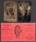Boxing Collectibles:Memorabilia, 19th Century Boxing Tintypes and Rule Pamphlet Lot of 3.....