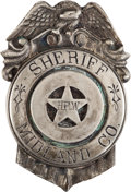 Militaria:Insignia, Texas Sheriff's Badge: A Scarce Original Badge from Midland County. ...