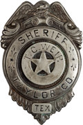 Militaria:Insignia, Texas Sheriff's Badge: A Scarce Original Badge from Taylor County. ...