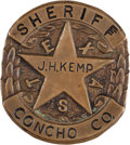 Militaria:Insignia, Texas Sheriff's Badge: A Scarce Original Badge from Concho County....