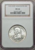 Commemorative Silver: , 1925 50C Vancouver MS66 NGC. NGC Census: (257/39). PCGS Population(313/45). Mintage: 14,994. Numismedia Wsl. Price for pro...