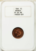 Proof Indian Cents, 1864 1C Bronze No L PR64 Red and Brown NGC....