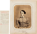 Photography:Official Photos, John H. Calef Signed West Point Photo, with Document Signed,circa 1860.... (Total: 2 )