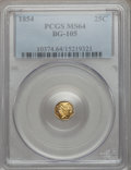 California Fractional Gold: , 1854 25C Liberty Octagonal 25 Cents, BG-105, R.3, MS64 PCGS. PCGSPopulation (70/26). NGC Census: (13/10). ...
