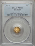 California Fractional Gold: , 1876 50C Indian Round 50 Cents, BG-1065, R.5, MS64 PCGS. PCGSPopulation (12/5). NGC Census: (1/1). ...