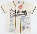Baseball Collectibles:Uniforms, 1990's Negro League Greats Multi Signed Pittsburgh Crawfords Jersey With Approximately 48 Signatures. ...