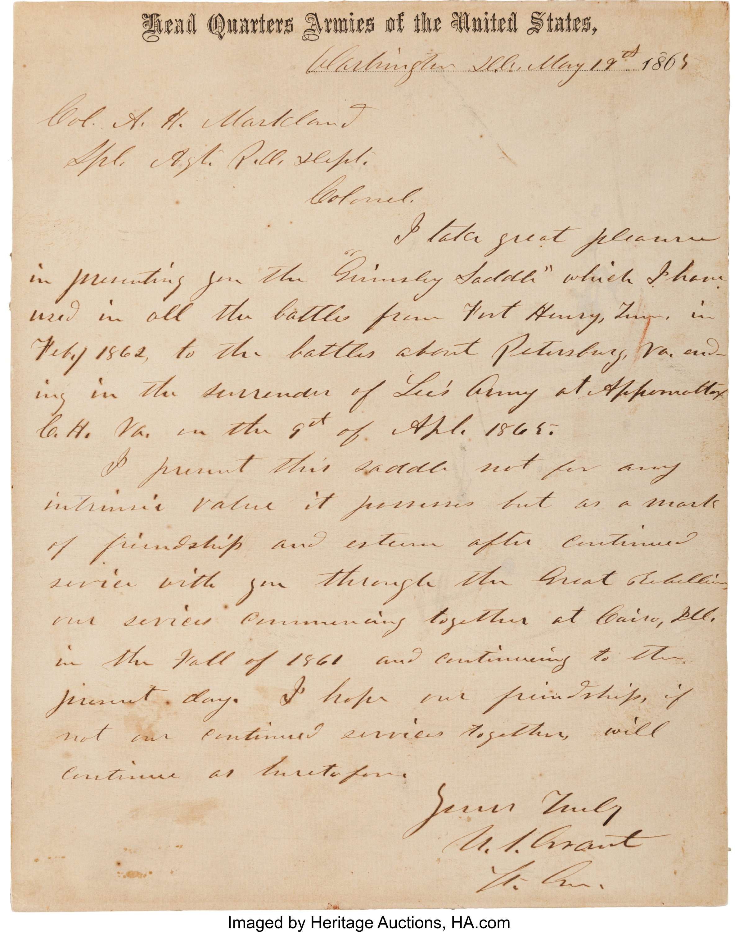 Ulysses S  Grant Autograph Letter Signed and Stereoview