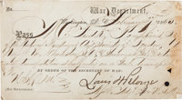 Abraham Lincoln, Ulysses S. Grant, and Edwin Stanton Endorsed Field Pass Signed