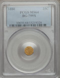 California Fractional Gold: , 1880 25C Indian Octagonal 25 Cents, BG-799X, R.3, MS64 PCGS. PCGSPopulation (69/20). NGC Census: (9/10). ...