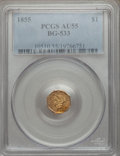 California Fractional Gold: , 1855 $1 Liberty Octagonal 1 Dollar, BG-533, Low R.4, AU55 PCGS.PCGS Population (23/64). NGC Census: (1/15). ...