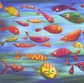 Mainstream Illustration, Untitled-172 . Colorful Fish . Digital image print on paper. 12 x 12 in.. ...