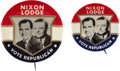 Political:Pinback Buttons (1896-present), Nixon & Lodge: Pair of Philadelphia Badge Jugates.... (Total: 2 Items)