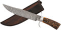 Edged Weapons:Knives, Damascus Bowie Knife by Riley....