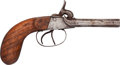Handguns:Muzzle loading, Unmarked Percussion Side by Side Pistol....