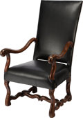 Furniture : French, A BAROQUE WALNUT AND BLACK LEATHER UPHOLSTERED FAUTEUIL A LA REINE,17th century. 46-3/4 x 26 x 29 inches (118.7 x 66.0 x 73...