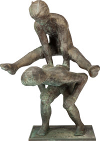 VICTOR SALMONES (Mexican, 1937-1989) Leap Frog Bronze with greenish-brown patina 49-3/4 inches (1