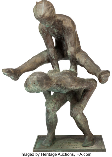VICTOR SALMONES (Mexican, 1937-1989)Leap FrogBronze with greenish-brown patina49-3/4 inches (126.4 cm) highInscr...