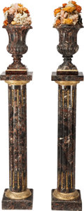 Decorative Arts, French:Other , A PAIR OF ITALIAN VARIEGATED MARBLE CAMPANA-FORM URNS ONNEOCLASSICAL-STYLE MARBLE AND GILT BRONZE MOUNTED PEDESTALS, 20thc... (Total: 2 Items)