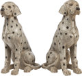 Decorative Arts, Continental:Other , A PAIR OF CARVED GRANITE AND MARBLE INLAID FIGURES OF SEATED DALMATIANS, 20th century. 39 inches high (99.1 cm). ... (Total: 2 Items)